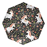 YZGO Cute Little Unicorn Running Forest Umbrella Auto Rain Windproof Compact 3 Folding Travel Umbrella UV Protection