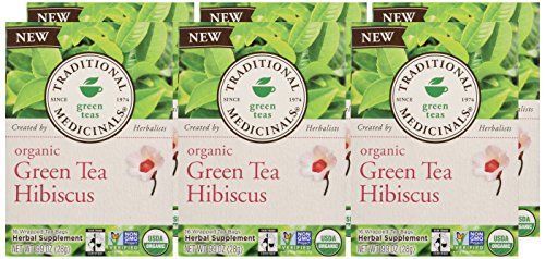Traditional Medicinals Organic Green Tea Hibiscus, 16 Tea Bags (Pack of 6) - incensecentral.us