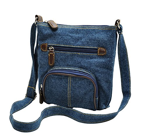 Volyer Girls Blue Denim Shoulder Bag Jean Purse Vintage Crossbody (Denim Purse Blue Jean)