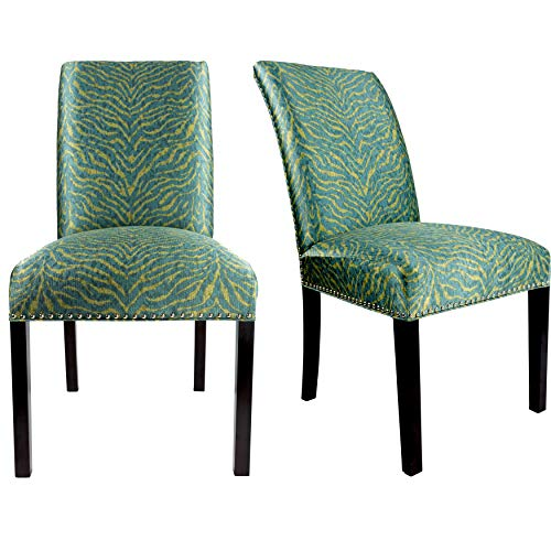 (Sole Designs The Dayna Collection Modern Style Fabric Upholstered Tiger Patterned Armless Dining Side Chairs (Set of 2), Sea Green)