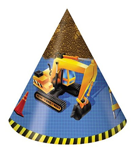 Club Pack of 96 Under Construction Child Sized Paper Birthday Party Hats 9
