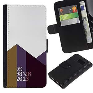 Billetera de Cuero Caso Titular de la tarjeta Carcasa Funda para Samsung Galaxy S6 SM-G920 / 2013 Abstract Polygon Art Mountains / STRONG