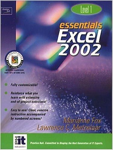 Excel 2002 Level 1 Essentials