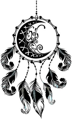 Divine Designs Pretty Moon and Swirls Dream Catcher with Feathers Vinyl Decal Sticker (4