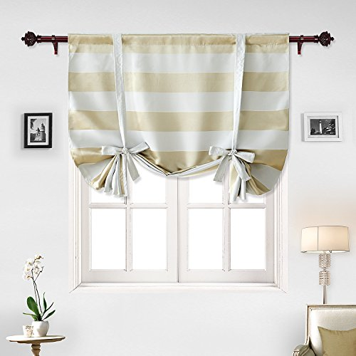 Deconovo Blackout Curtain Pattern Striped Curtains Rod Pocket Light Blocking Curtain Short Curtain for Small Window 46W X 63L Champagne 1 Panel Review