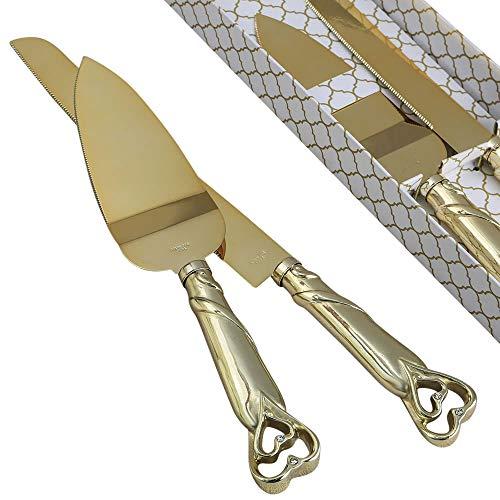 FASHIONCRAFT Gold Double Heart Wedding Cake Serving Set - Gold Wedding Cake Knife Set