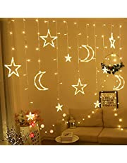 OUYAWEI Moon Star Lamp LED Lamp String Ins Christmas Lights Decoration Holiday Lights Curtain Lamp Wedding Neon Lantern 3.5 meters warm white high and low Three AA batteries