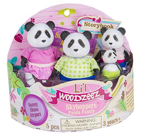 Li'l Woodzeez Skyhopper Panda Family 4-Piece Storytime Play Set with Storybook