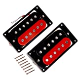 Kmise Zebra Faced Humbucker Double Coil Pickups For Electric Guitar Pickup (Black & Red)