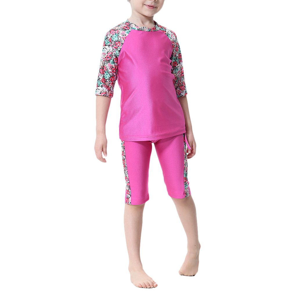 Zhuhaitf Children Girls Modest Fit Swimsuit Casual Muslim Swimwear Burkini