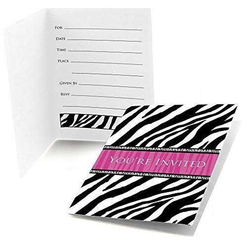 Zebra Hot Pink - Fill In Baby, Bridal Shower or Birthday Party Invitations (8 count)