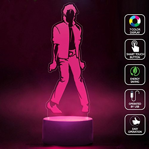 [CMLART Michael Jackson Art Design 3d Lamp Night 7 Color Change Best Gift Night Light LED Furnish Desk Table Lighting Home Decoration] (Michael Jackson Decorations)