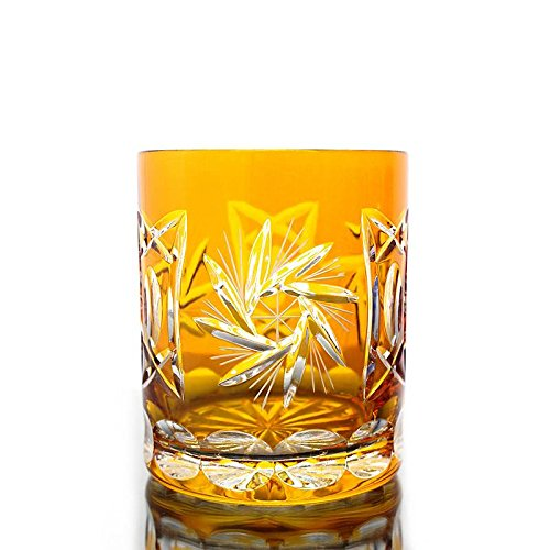 Whiskey glass ''Schleuderstern'' (280ml) yellow, lead crystal, modern style, glass (CRISTALICA KINGDOM powered by CRISTALICA)