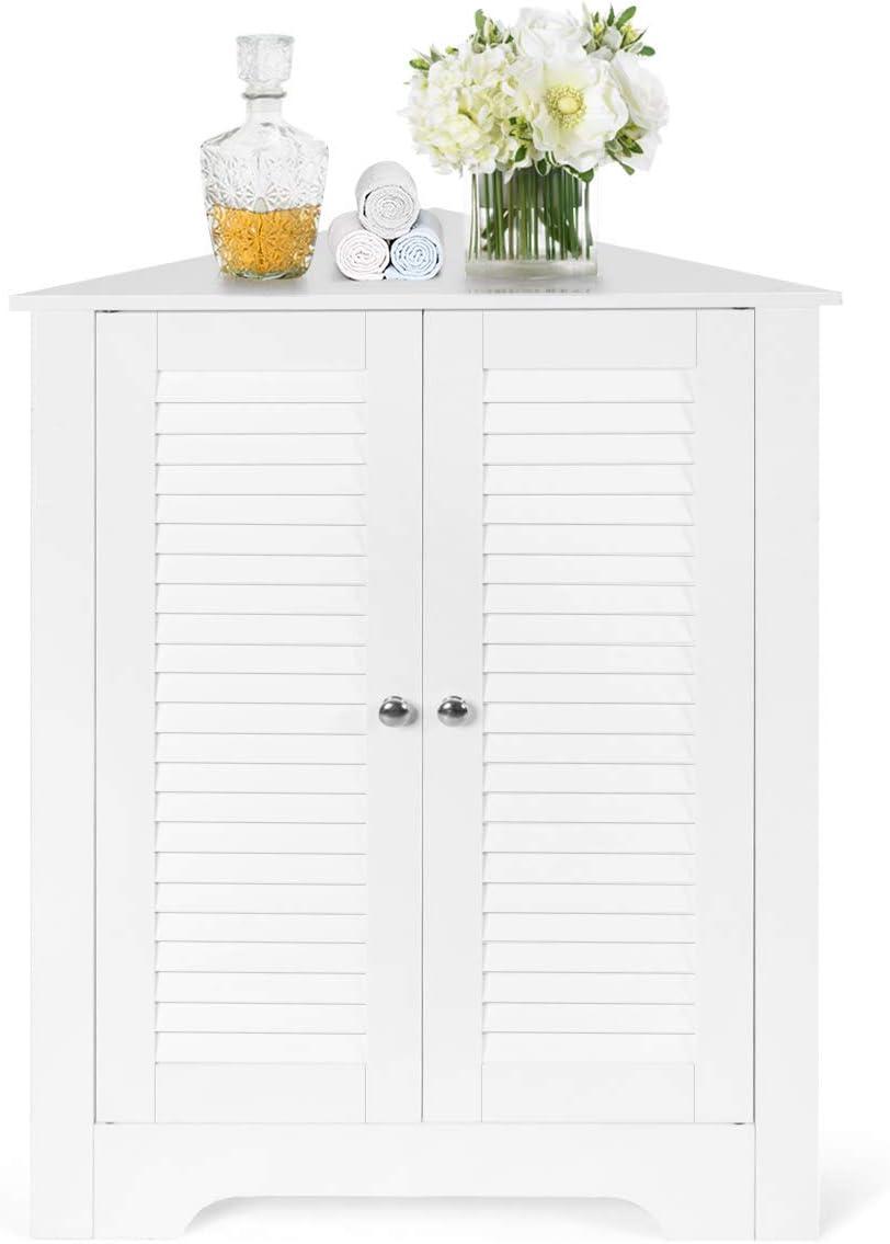 Tangkula Corner Storage Cabinet, Space Saving Corner Cabinet with Double Shutter Doors Adjustable Shelf, Freestanding Floor Cabinet Organizer for Kitchen Living Room Bathroom White