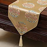 Chinese-style garden table runner/tablecloth/table cloth/tablecover/Tea table cloth/Bed banner/Counter flag/Long table cloth-O 33x150cm(13x59inch)