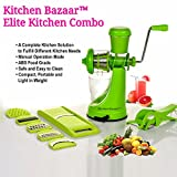 Kitchen Bazaar Elite Kitchen Combo - Fruit & Vegetable Manual Juicer Mixer Grinder With Steel Handle, 6 In 1 Multi-Purpose Fruit & Vegetable Slicer & Multi  Veg Cutter with Peeler - Chilly Cutter,Carrot ,Banana Cutter - Set of 3