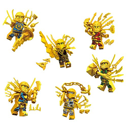 Cardboard Monster Truck Costume (gonggamtop 6pcs/Set Ninjago Ninja Minifigures Building Blocks Toy Gold Version with Weapons)
