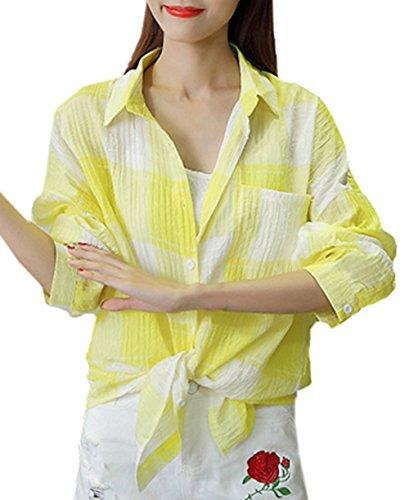 Bevalsaレディース チェックシャツ 長袖 シャツ ゆったり コート 薄手 カジュアル ロング丈 アウター ゆったり 春服 日焼け止め服 パーカー オーバー 無地 大きいサイズ ファッション