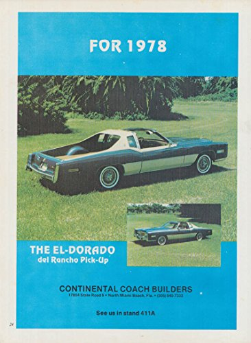The Cadillac El-Dorado del Rancho Pick-up Continental Coachbuilders ad 1978