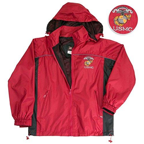 Marine Corps, USMC Jacket Usmc Hooded Light Weight Rain Resistant Windbreaker Jacket Reflective Safety Piping And Removable Hood Mesh Nylon Liner Embroidered Logo Draw Sting Waist XX-Large (Logo Nylon Jacket)
