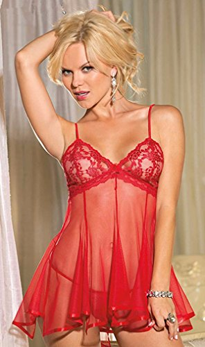 Victoria's Secret Bag Halloween Costumes (Women's Babydoll Large Lenceria Sexy Lingerie Hot Underwear Dress Transparent Lace Chest Perspective Gauze Bow Erotic Costumes)
