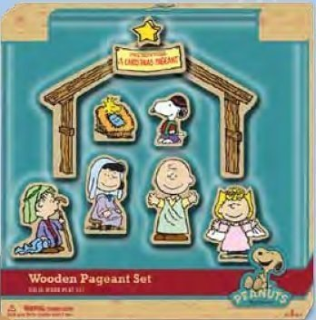 Peanuts Charlie Brown Christmas Wooden Nativity Scene Classic Toy]()