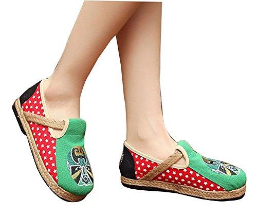 bordados de green mujeres las Zapatos mano caseros cáñamo Características a ocasionales hechos Zapatos de étnicas pwBdqp