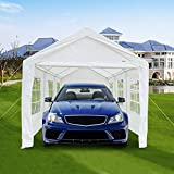 VINGLI 10' x 20' Carport Outdoor Canopy Car Park Sun Shelter, w/6 Windows and 2 Zipper Door, Versatile Garage Vehicle Shelter,Wedding Party Tent,Polyester Fabric Cover UV Protection Waterproof