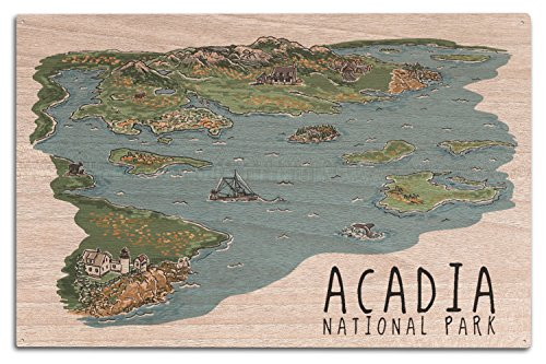 Acadia National Park, Maine - Line Drawing (10x15 Wood Wall Sign, Wall Decor Ready to Hang)