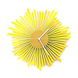 The Sun - 16 Stylish Modern Yellow/Gold Handmade Wooden Wall Clock, a Piece of Wall Art by ardeola