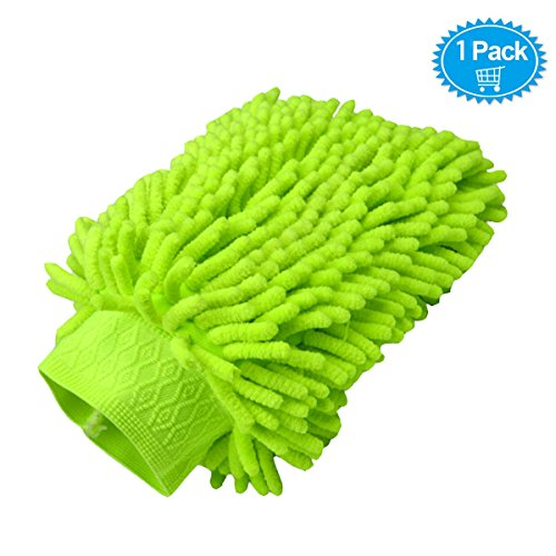 Hirun One Pack Car Wash Mitt - Premium Chenille Microfiber Wash Mitt - Wash Glove - Lint Free - Scratch Free - Use Wet or Dry,Colors May Vary (Car Wash Mitt On Stick compare prices)
