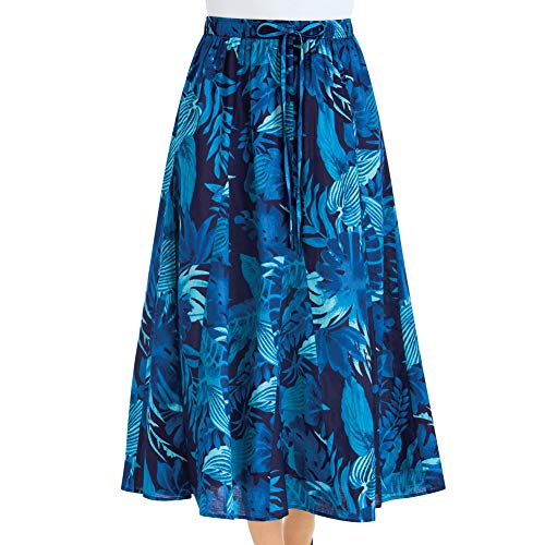 Women's All-Over Tropical Bold Leaf Print Full Skirt with Elastic Waistband - Beachy Style Tea Length Skirt, Blue, Xx-Large