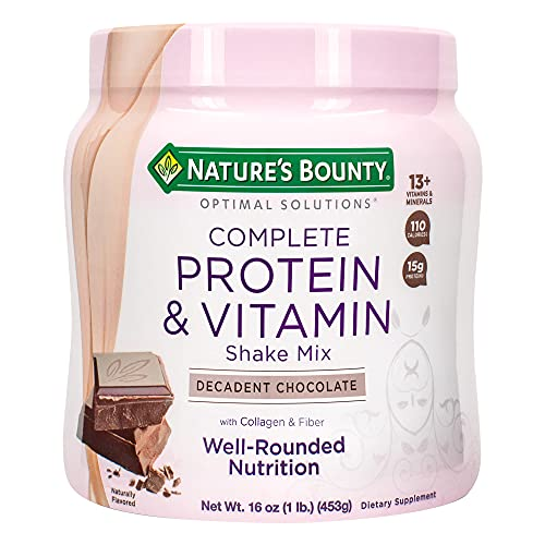 Nature's Bounty Complete Protein & Vitamin Shake Mix with Collagen & Fiber, Contains Vitamin C for Immune Health…