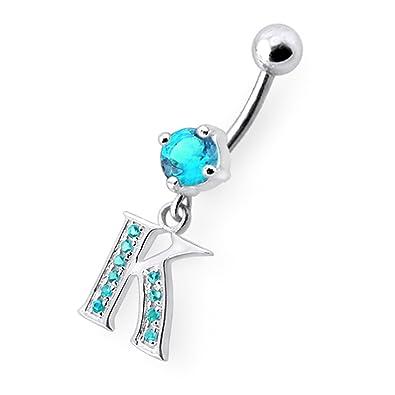 Crystal Stone Trendy K Letter Design Sterling Silver Belly Bars Piercing