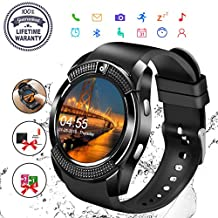 Smart Watch,Bluetooth Smartwatch Touch Screen Wrist Watch with Camera/SIM Card Slot,Waterproof Phone Smart Watch Sports Fitness Tracker Compatible Android Phone iOS Phones for Men Women Kids (Black)