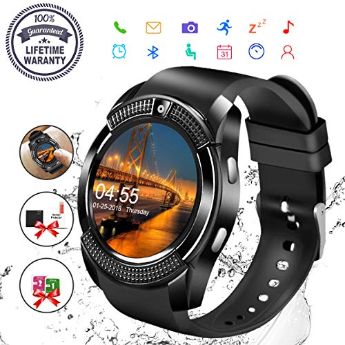 Smart Watch,Bluetooth Smartwatch Touch Screen Wrist Watch with Camera/SIM Card Slot,Waterproof Phone Smart Watch Sports Fitness Tracker Compatible Android Phone iOS Phones for Men Women Kids (Black) by Robesty