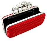 Red Satin Skull Clutch Knuckle Duster Four Ring Evening Bag, Bags Central