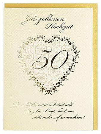 Gluckwunschkarte Zur Goldenen Hochzeit Creme Gold Mit Spruch Amazon