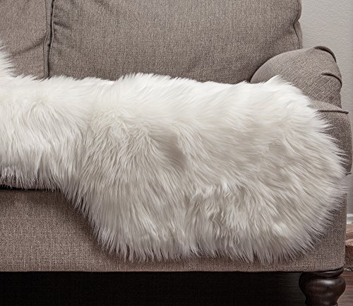 Chanasya Super Soft Faux Fur Fake Sheepskin White Sofa