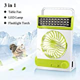 LIANGUS 3-in-1 Solar Fan Portable Cooling Fan with Lamp Multi-functional Solar Camping Fan Flashlight Torch Eye-Care LED Table Lamp for Home Office Camping (Green)