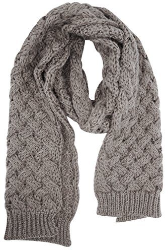 Scarf Cable Knit Long (Women's Thick Soft Cable Knit Neck Warmer Long Scarf Shoulder Wrap Shawl, Coffee)