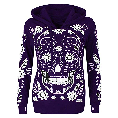 JFLYOU Blouse for Women, Plus Size Long Sleeve Skull Print Hooded Sweatshirts Fashion Pullover Tops(Purple,XXL)