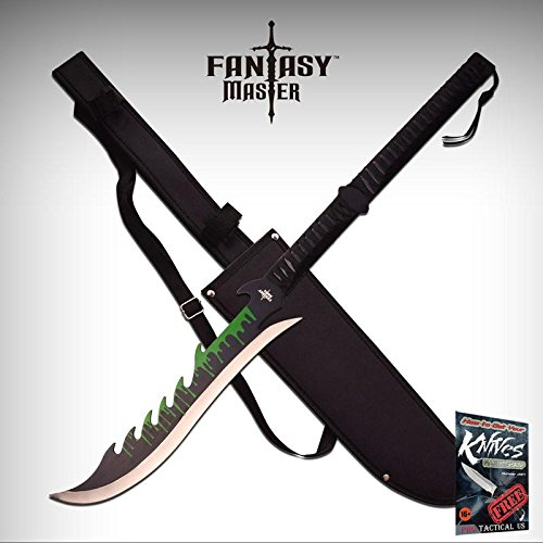 SHORT SWORD Fantasy Master Black Two-Hand Green Ninja Blade Dragon Sheath FM-670 + free eBook by ProTactical'US -
