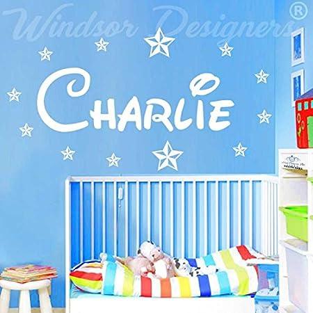 24 x 8 in stile Disney Forest per la camera dei bambini B ZZ2 Windsor Designers -Small -SIZE 60cm x 20cm nome adesivo da parete personalizzabile con stelle