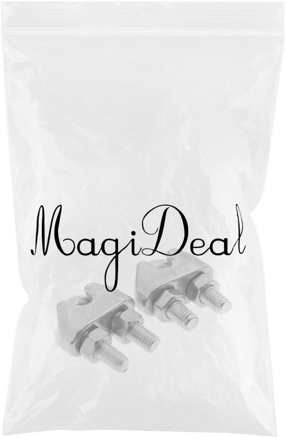 MagiDeal 2pcs Robuste Serre C/âble en 304 INOX Attache de C/âble M/étallique Corde Fil U Boulons Poign/ées Fixation Bateaux M2//3//4//5//6//8
