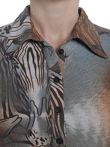 Bluse, Poloshirt, Langarmshirt von moya, 004moya braun/graun, Gr. S, 36