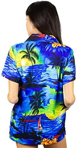 V.H.O. FUNKY HAWAIIAN BLOUSE SHIRT WOMEN VERY LOUD SHORTSLEEVE CASUAL FRONT POCKET BUTTON DOWN SURF PRINT