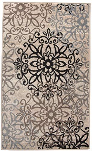 2 x 3 Rug Chic Contemporary Floral Medallion Pattern 8mm Pile Height with Jute Backing Superior Elegant Leigh Collection Area Rug Beige Anti-Static Water-Repellent Rugs