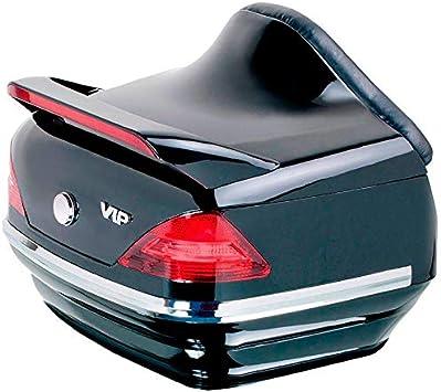 Baul rigido para moto custom de 40 litros de capacidad, con pilotos y respaldo. Color negro brillo. Capacidad para un casco.