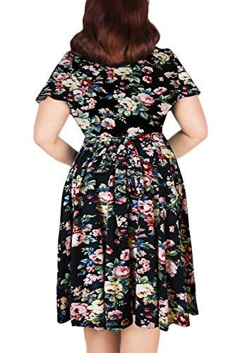 da Print Nemidor Midi damigella Casual scollo Size V abito a donna d' onore elasticizzato Plus 600xrdZ